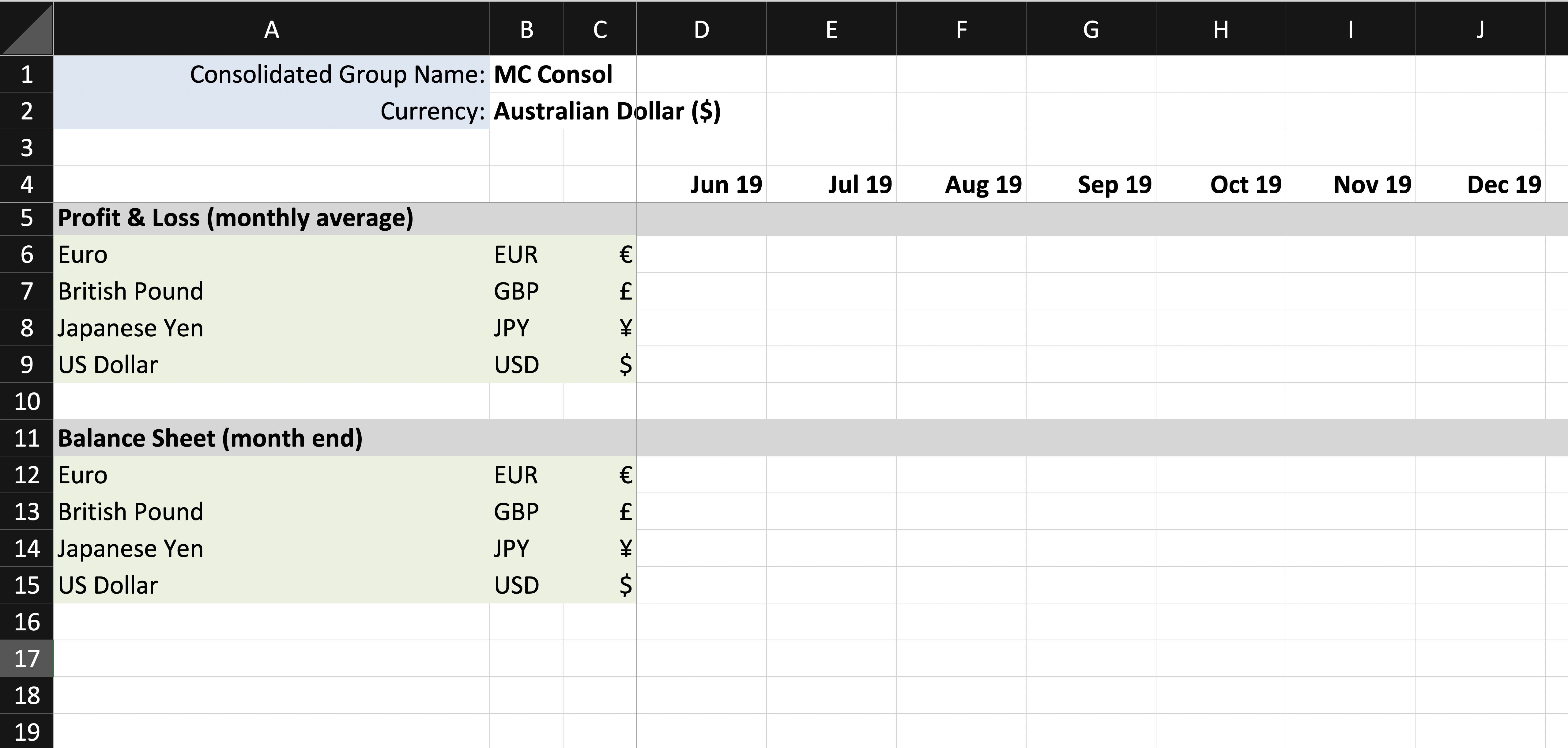 Using Excel to customise FX rates