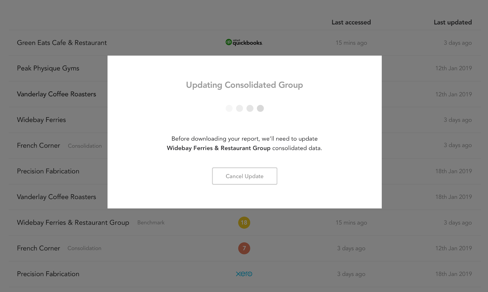 updating consolidated groups